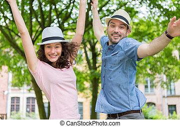 par, parque, jovem, divertimento, tendo, feliz
