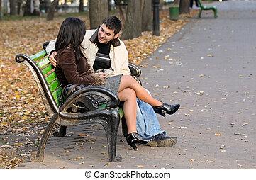 par, parque, jovem