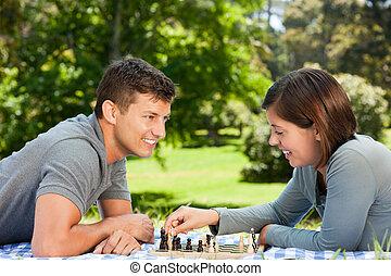 par, parque, xadrez, tocando