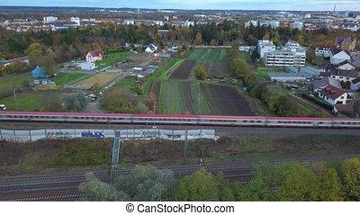 par, passager, banlieues, train, vert, passes, augsburg,...