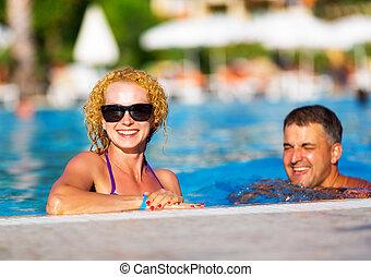 par, piscina, feliz