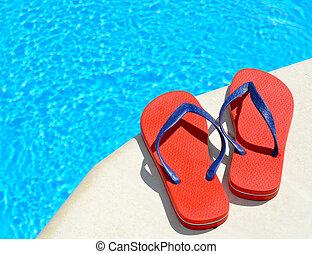 par, piscina, flip-flops, vermelho