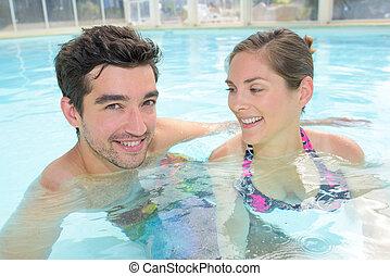 par, piscina, natação