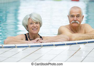 par, piscina, sênior, feliz