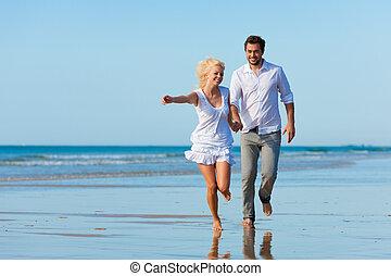 par, praia, executando, em, glorioso, futuro