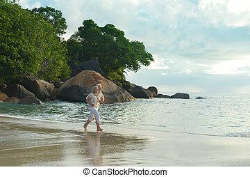 par, praia, executando, idoso