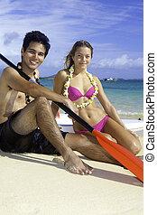 par, praia, paddleboards