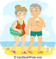 par, praia, velho