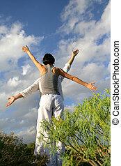 par, praktisera, yoga, utanför