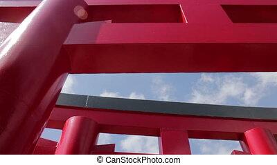 par, promenade, torii, japonaise, chanceux