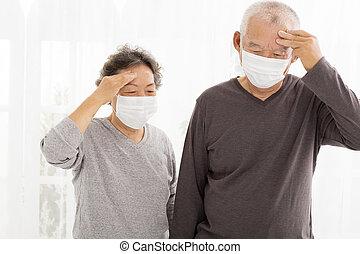 par, protetor, máscara,  Sênior, rosto