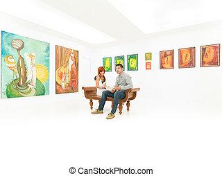 par, quadro, exibição, jovem