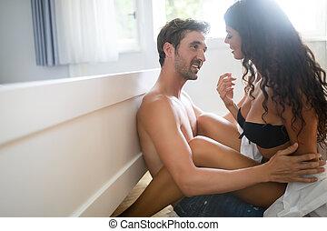 par, quarto, apaixonado, sexo, tendo, bonito