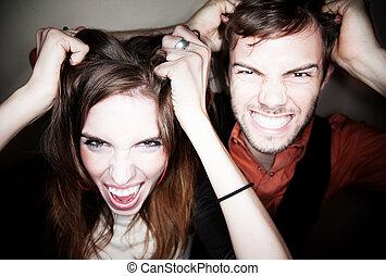 par, rasgando, saída, seu, cabelo