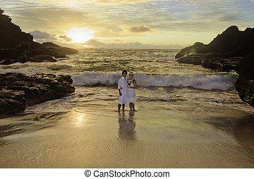 par, recém casado, amanhecer