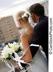 par, recém casado, vista traseira