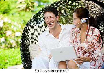 par, relaxante, ao ar livre