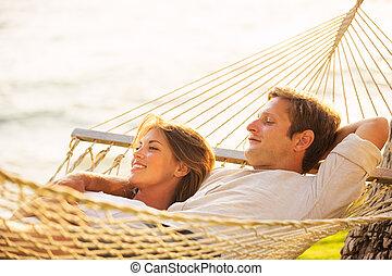 par, relaxante, em, tropicais, rede