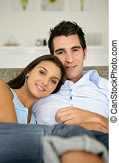 par, relaxante, ligado, sofá