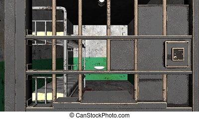 par, rendre, barres, fond, intérieur, 3d, engendré, prison, informatique, sinistre