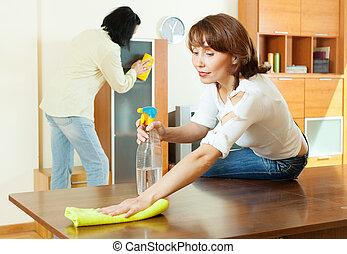 par, rengöring, tillsammans