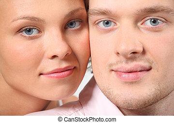 par, retrato, closeup, jovem