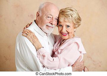 par, -, retrato, sênior, amando