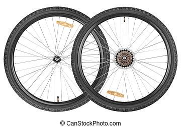 par, rodas, para, bicicleta montanha