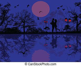 par romántico, en, un, parque