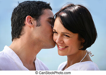 par romântico, ao ar livre