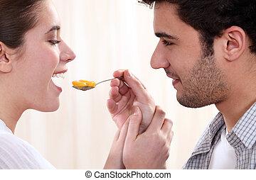 par romântico, comer, fruta