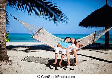 par romântico, relaxante, em, rede
