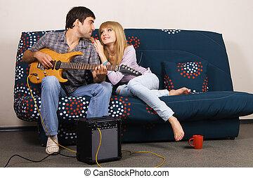 par, romanticos, jovem