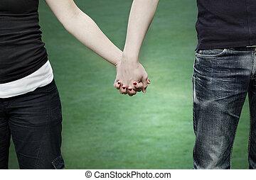 par, rummer, park, hænder