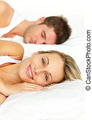 par, säng, le, kamera, lögnaktig, kvinna