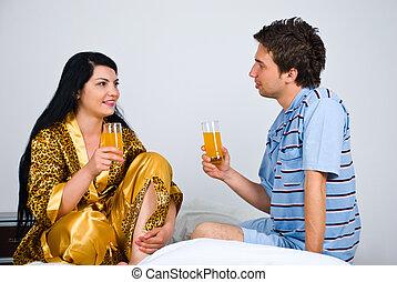 par, säng, morgon, juice, apelsin, frisk