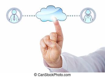 par, samiec, samica, chmura, kontaktowanie