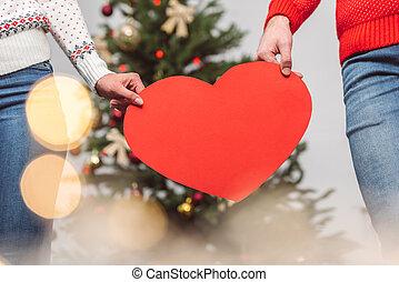 par, segurando, coração, símbolo