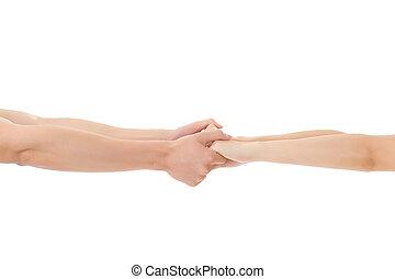 par, segure mãos