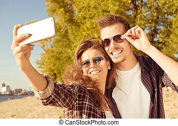 par, selfie, jovem, fazer, foto