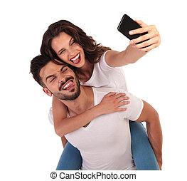 par, selfies, seu, divertimento, tendo, feliz