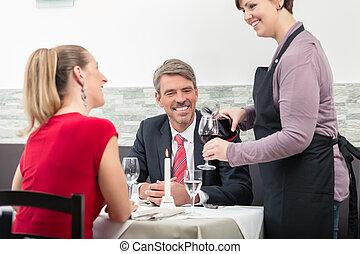 par, serve, servitris, vin