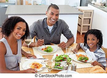 par, seu, étnico, jantar, filho