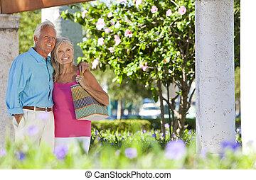 par, Solsken, utanför,  Senior, Le, lycklig