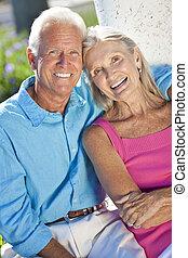 par, solsken, utanför, senior, leende glada