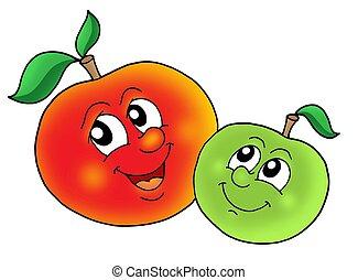 par, sonriente, manzanas