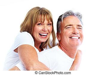 par, sorrindo, sênior