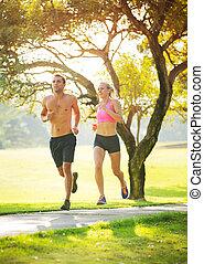 par, spring, tillsammans, i parken