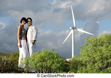 par, stå, på, vind lantgård