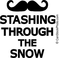 par, stashing, moustache, neige